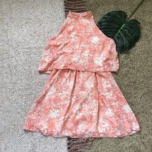 💫Paper Crane | Pink Tropical Layered Skater Dress